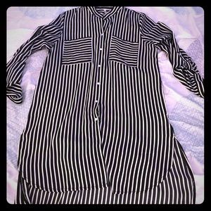 High low button down striped shirt